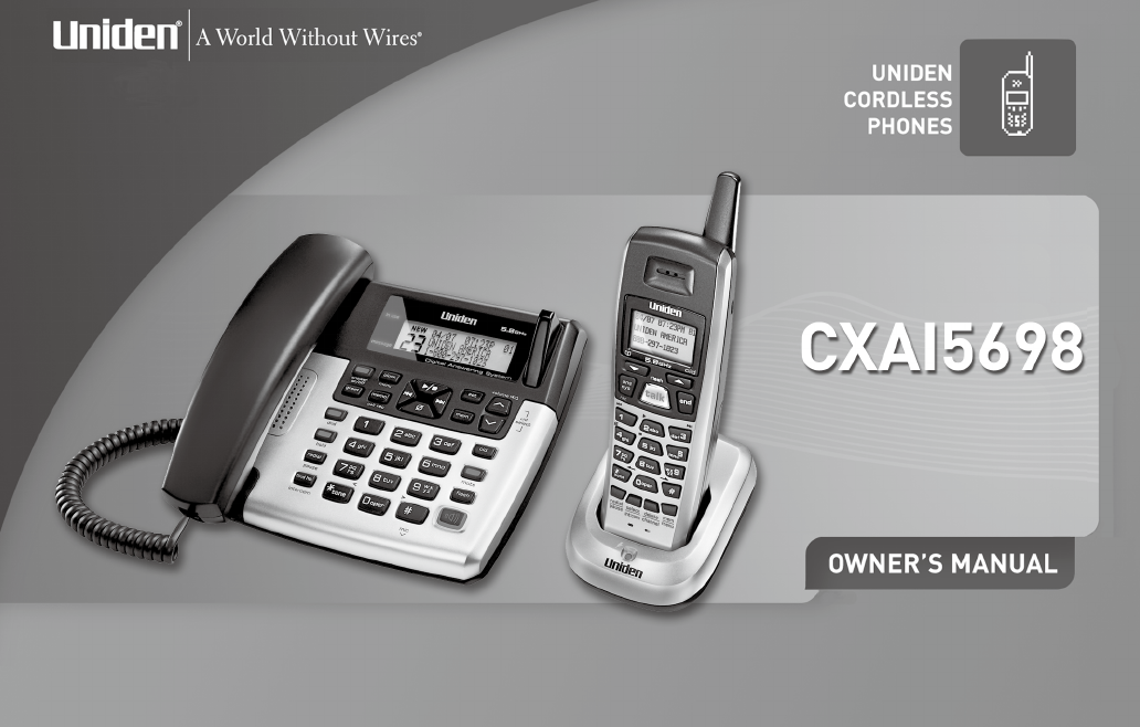 uniden cordless telephone cxa 15698 user guide manualsonline com rh phone manualsonline com Uniden Digital DECT 6.0 Manual Uniden DCT758 Phone Manual