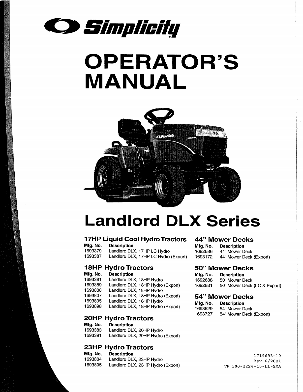 Simplicity Lawn Mower 1692688 User Guide | ManualsOnline.com