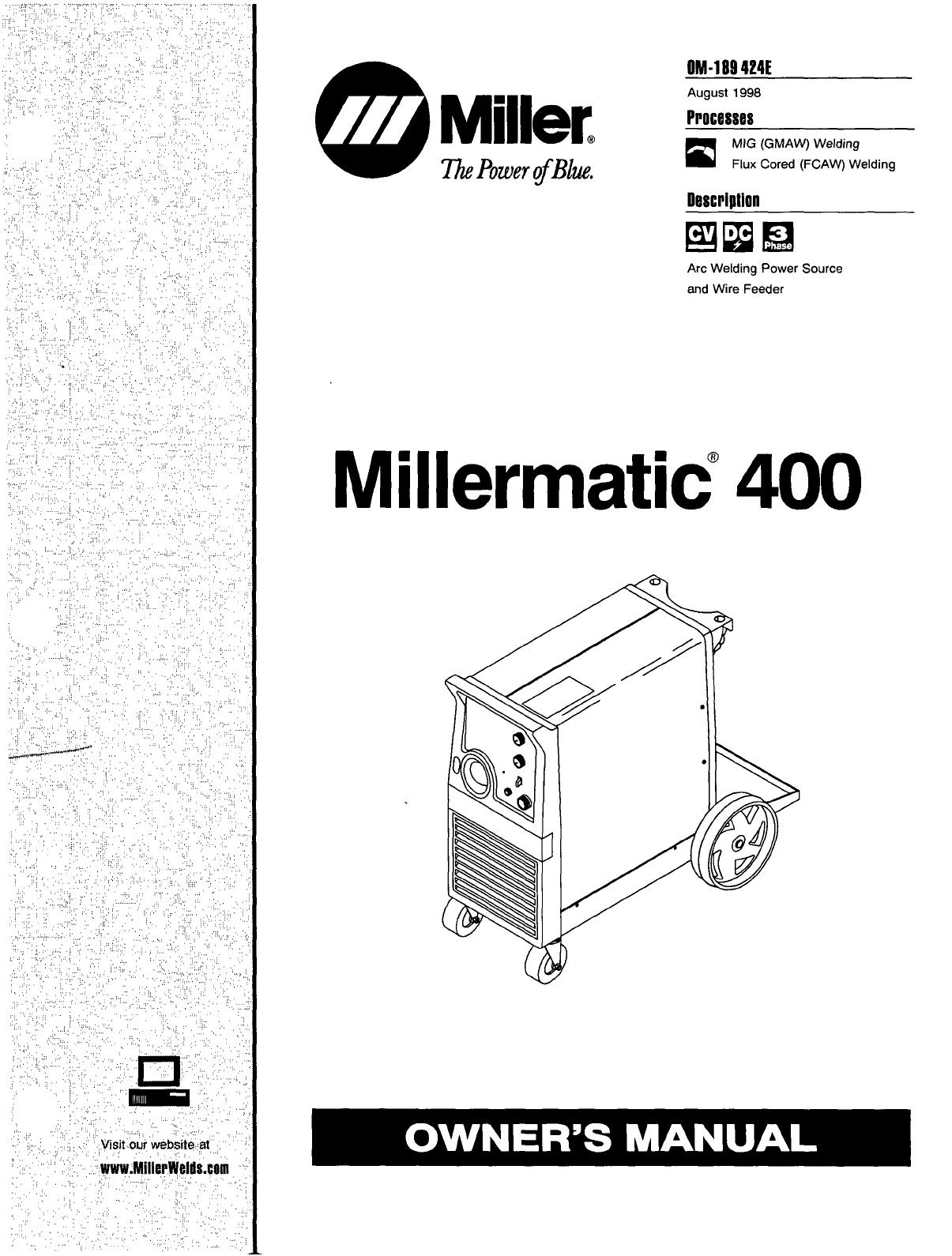 miller electric welder 400 user guide manualsonline