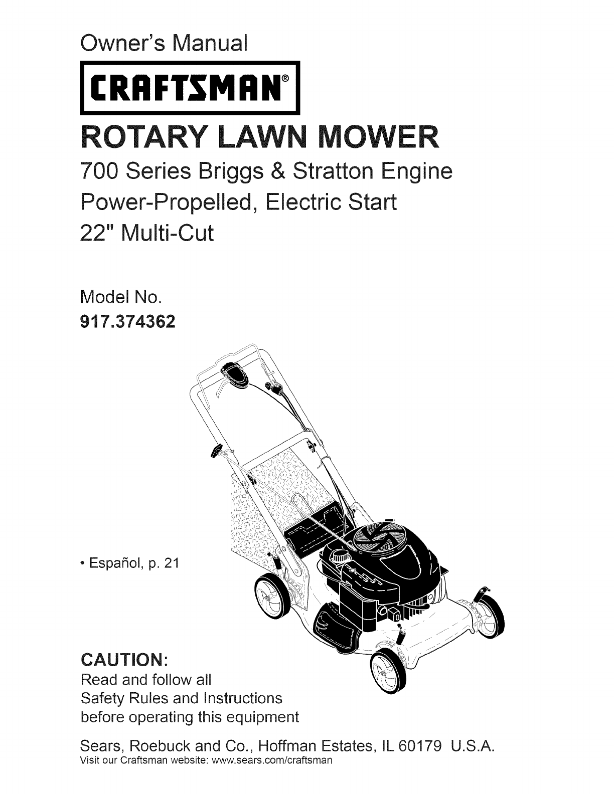 Craftsman Lawn Mower 917374362 User Guide Manualsonlinecom Briggs And Stratton 17 5 Hp Engine Diagram