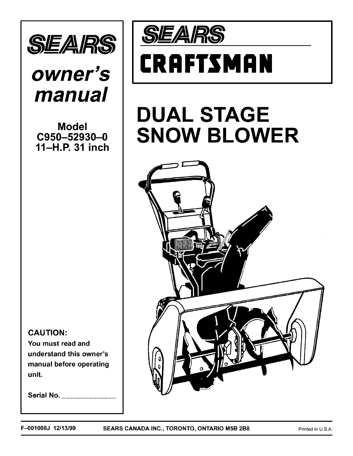 Old craftsman snowblower manual product user guide instruction craftsman snow blower c950 52930 0 user guide manualsonline com rh kitchen manualsonline com craftsman repair manual craftsman snow blower manual pdf 247 fandeluxe Images