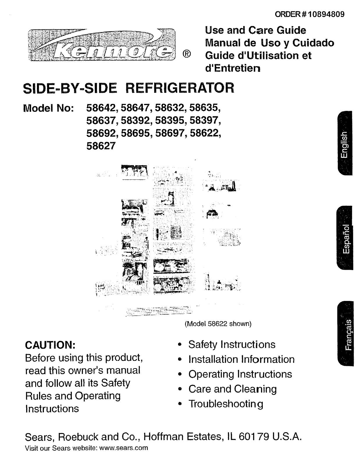 kenmore refrigerator 596 58692 user guide manualsonline com rh kitchen manualsonline com sears kenmore refrigerator user manual sears kenmore refrigerator user manual