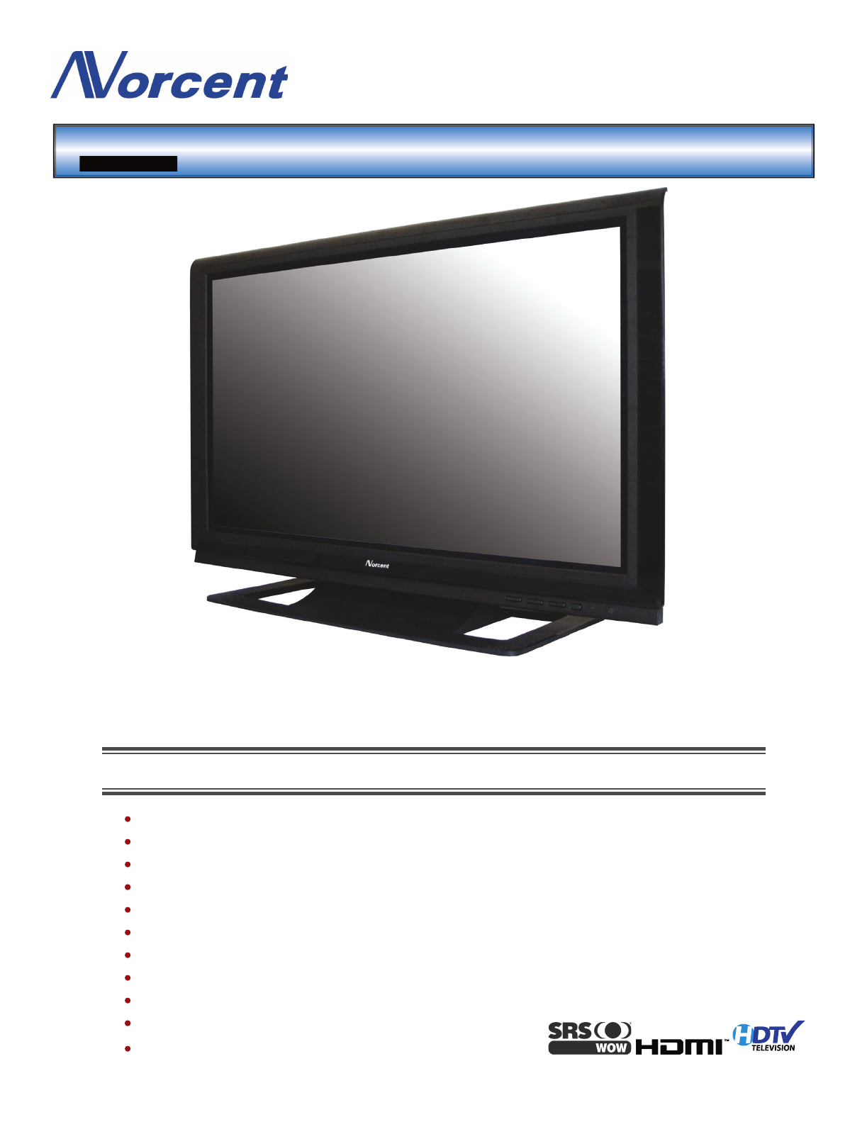 norcent technologies flat panel television pt 4246hd user guide rh tv manualsonline com Norcent LCD TV Norcent TV Buttons