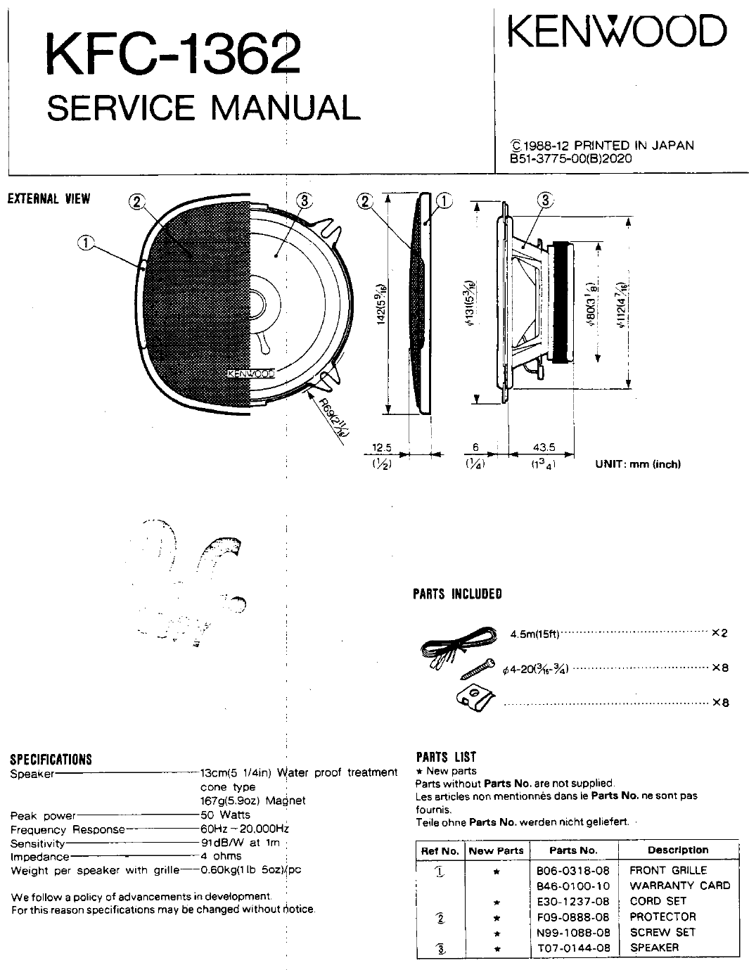 Kenwood Speaker KFC-1362 User Guide | ManualsOnline com