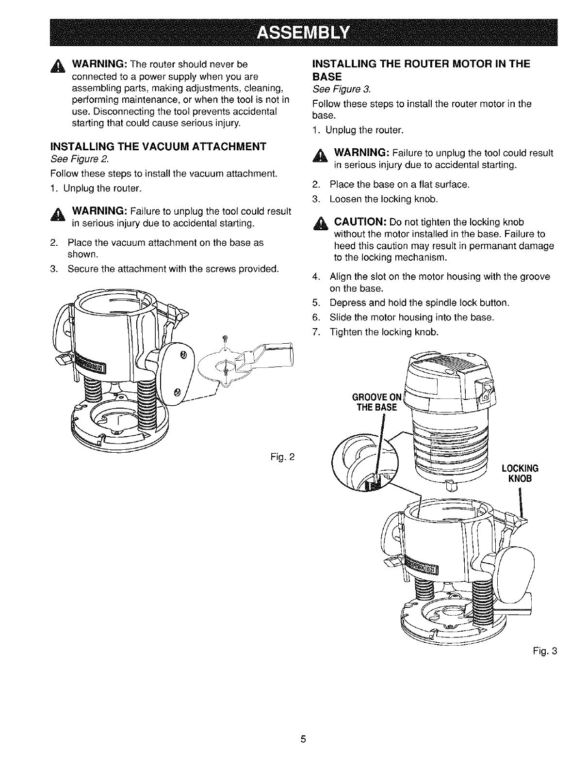 page 5 of craftsman router 315 175320 user guide manualsonline com rh powertool manualsonline com Craftsman Lawn Tractor Manual Owner S Manual Craftsman 917