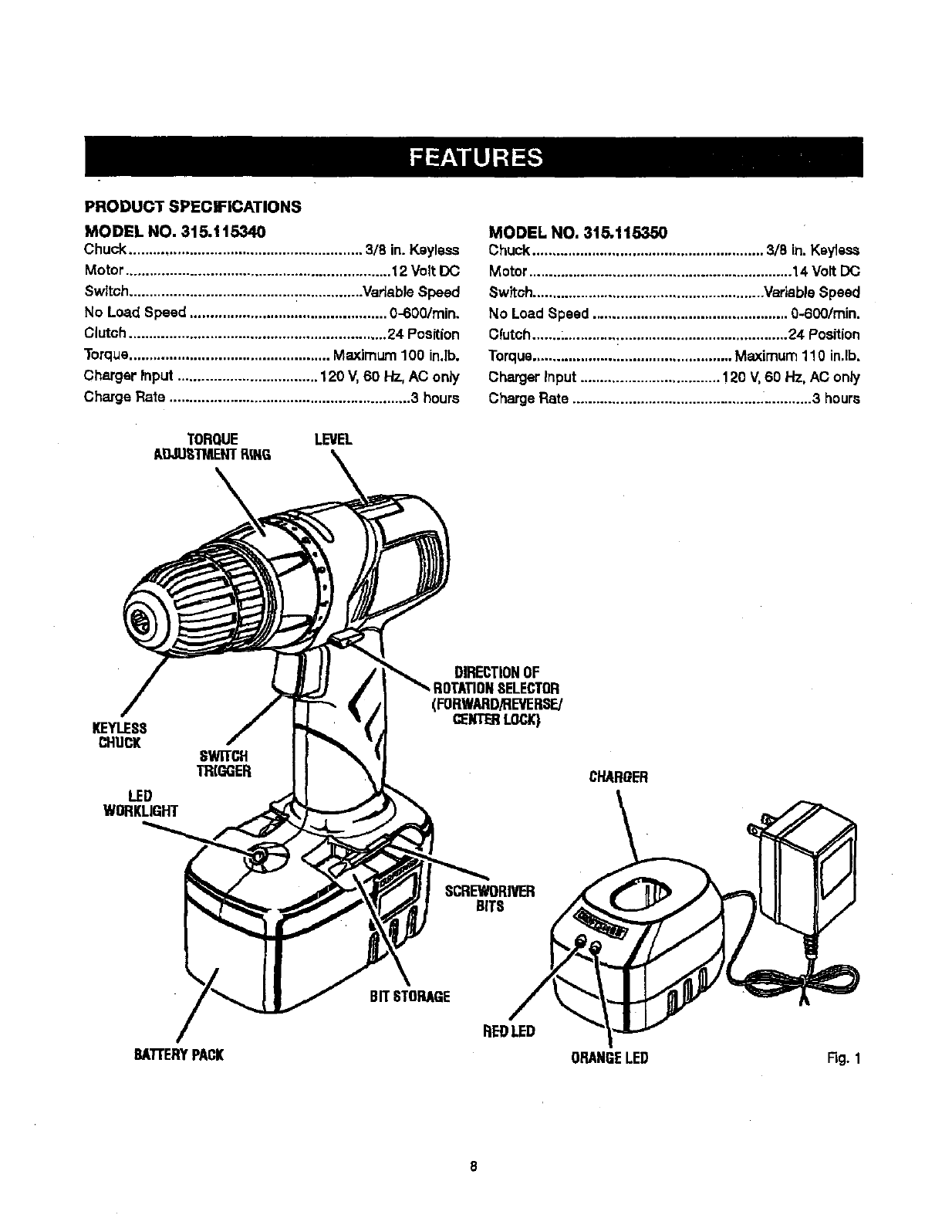 page 8 of craftsman cordless drill 115 user guide. Black Bedroom Furniture Sets. Home Design Ideas