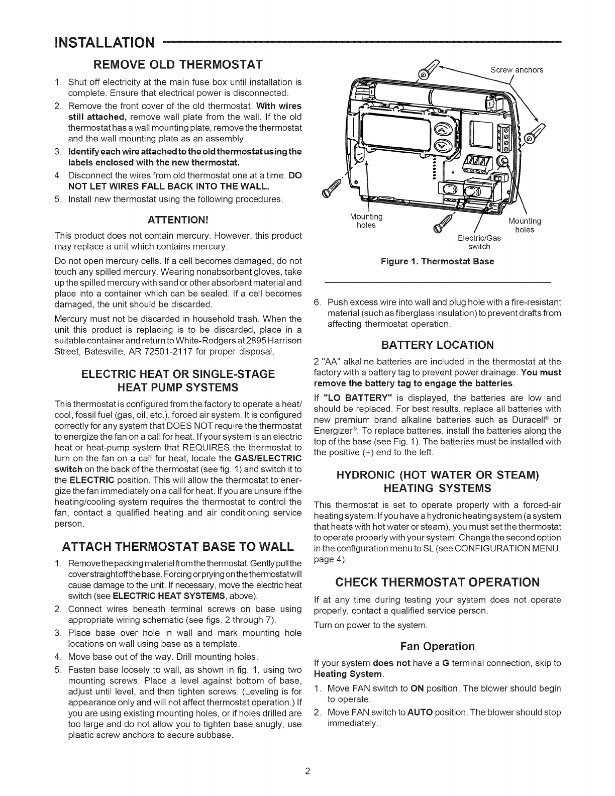 Page 2 of Sears Thermostat 1F86-382 User Guide | ManualsOnline.com