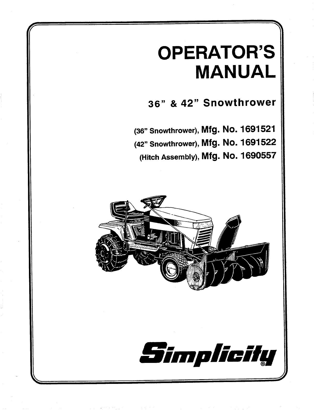 simplicity snow blower 1691521 user guide manualsonline com rh lawnandgarden manualsonline com simplicity snowblower owners manual 8 Simplicity Snow Throw