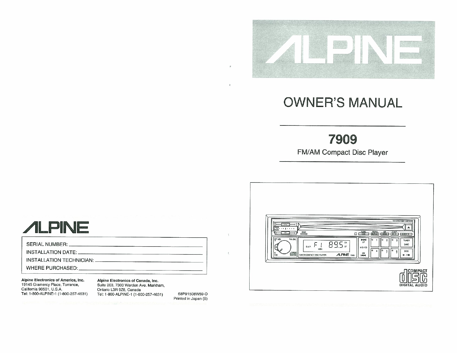 alpine car stereo system 7909 user guide manualsonline com rh caraudio manualsonline com User Guides Samples iPad Manual