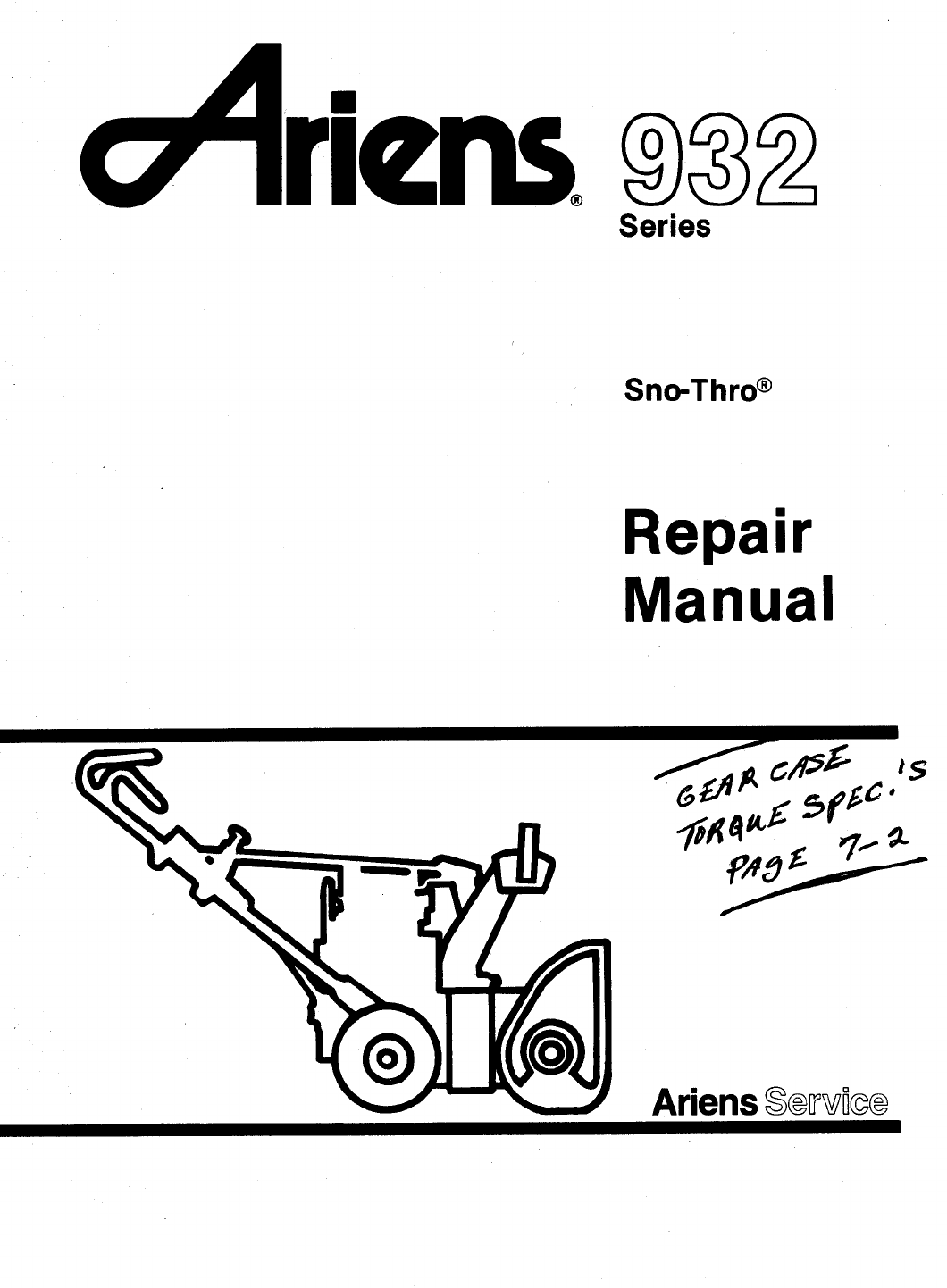 ariens snow blower 932 series user guide manualsonline com rh homeappliance manualsonline com ariens snowblower repair manual ariens snowblower owners manual pdf
