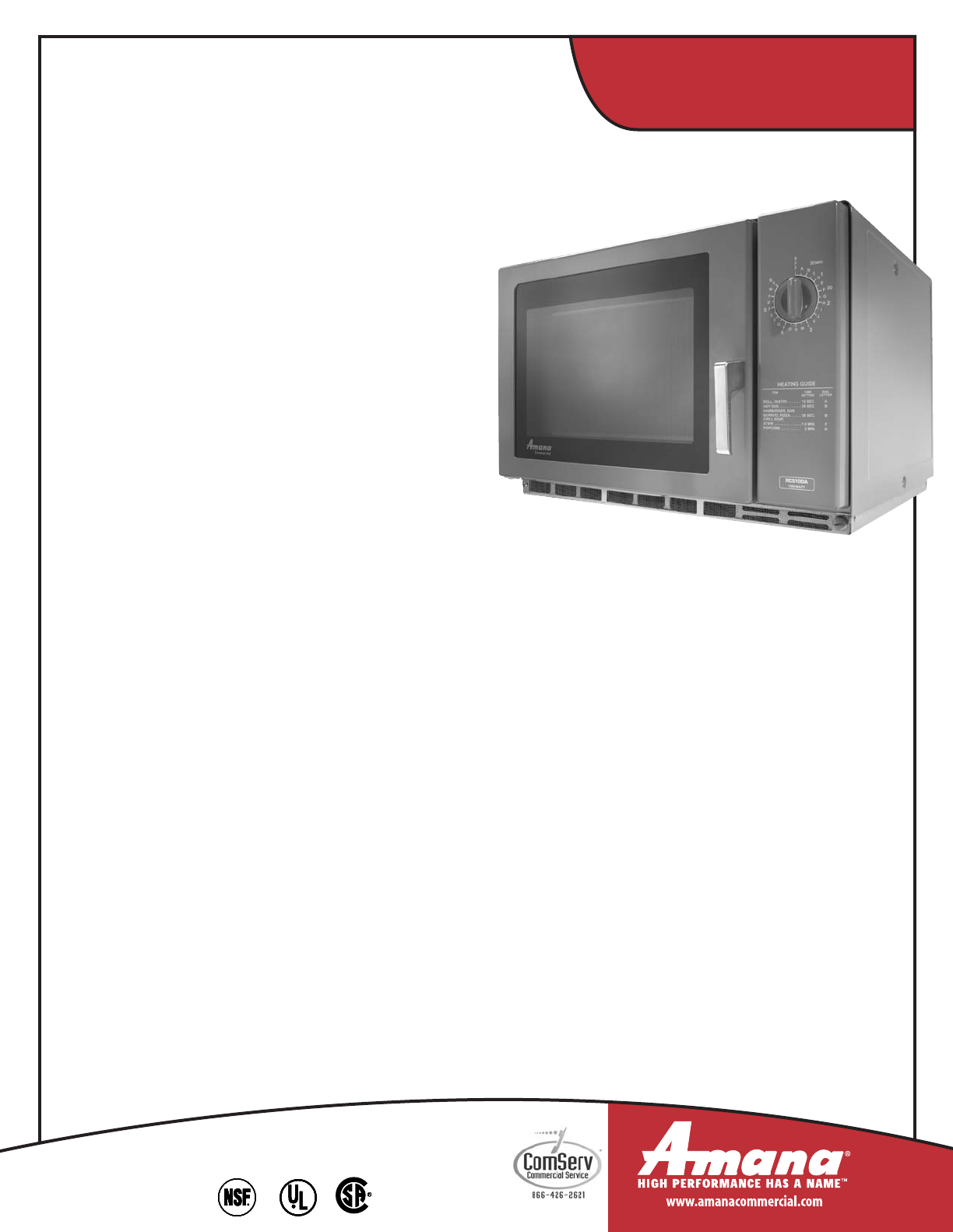 amana commercial microwave service manual