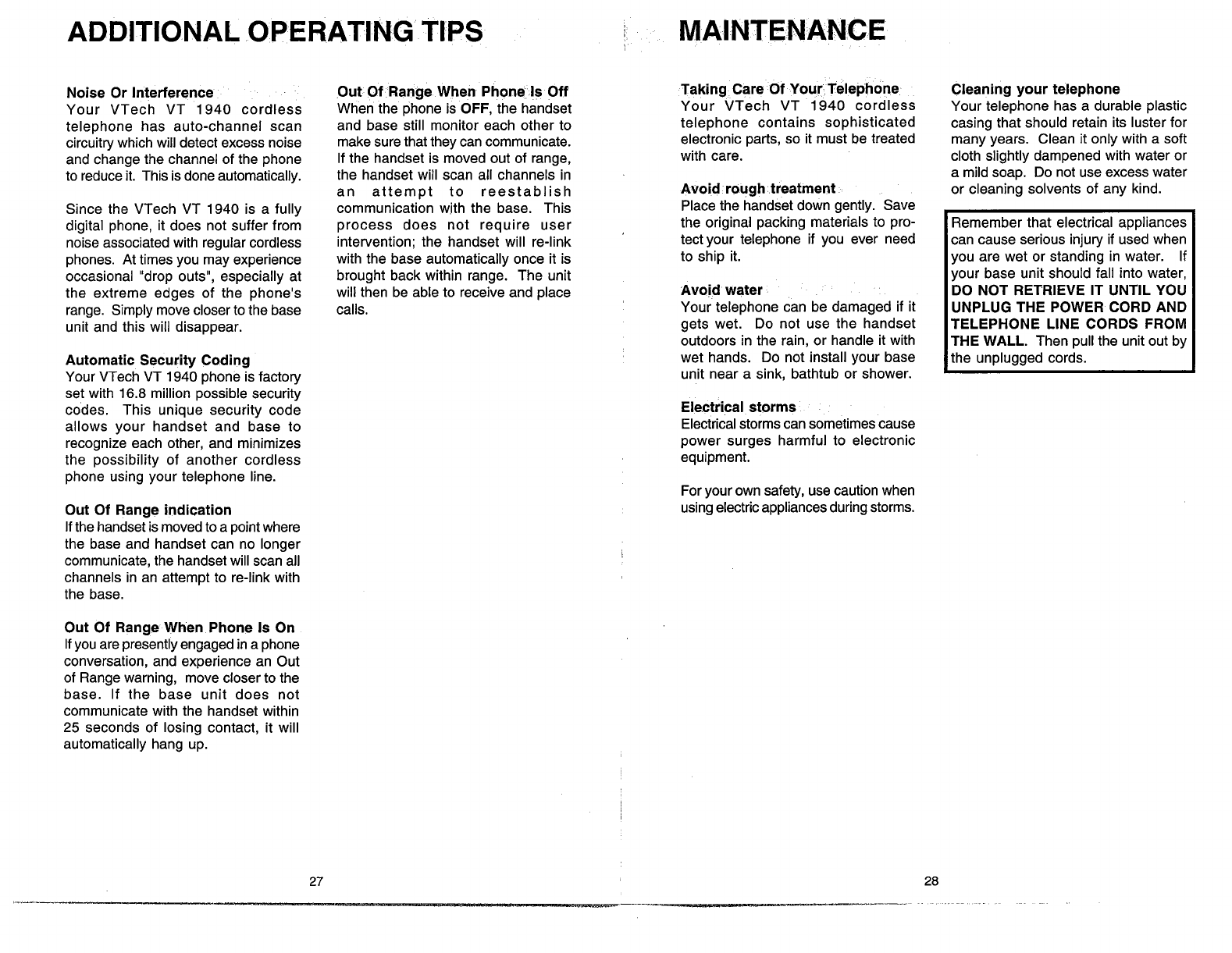 Page 16 Of Vtech Cordless Telephone Vt1940 User Guide