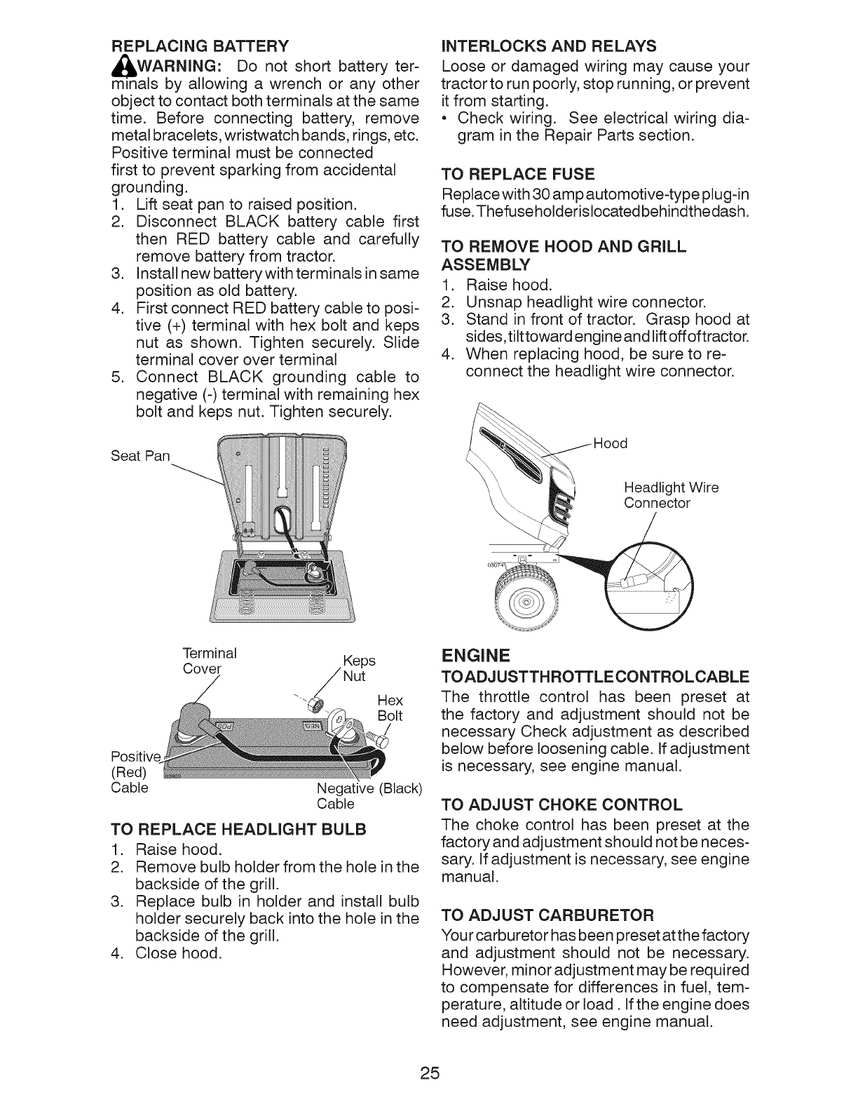 Page 25 of Craftsman Lawn Mower YT 3000 User Guide
