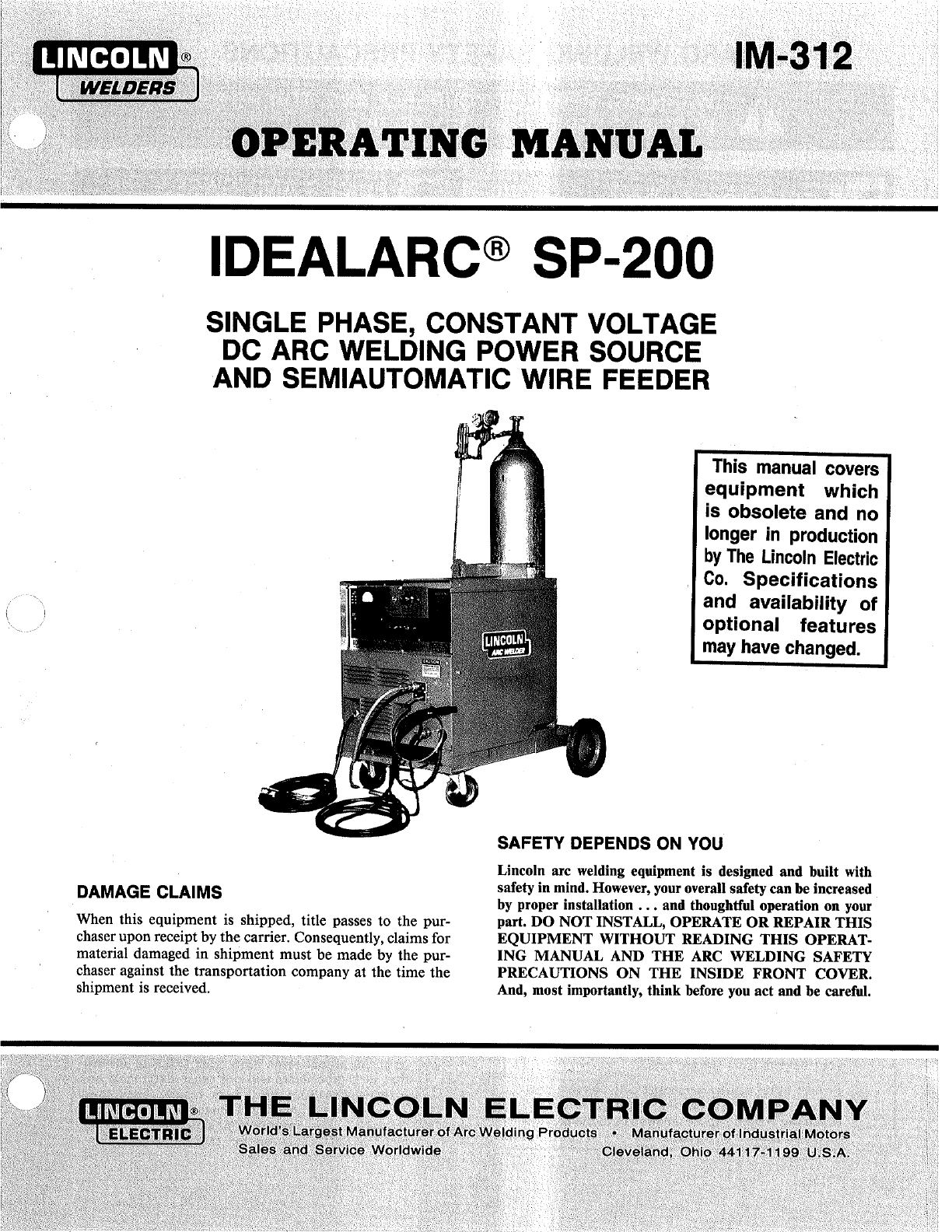 Lincoln Electric Welding Consumables SP200 User Guide – Lincoln Idealarc Wiring Diagram