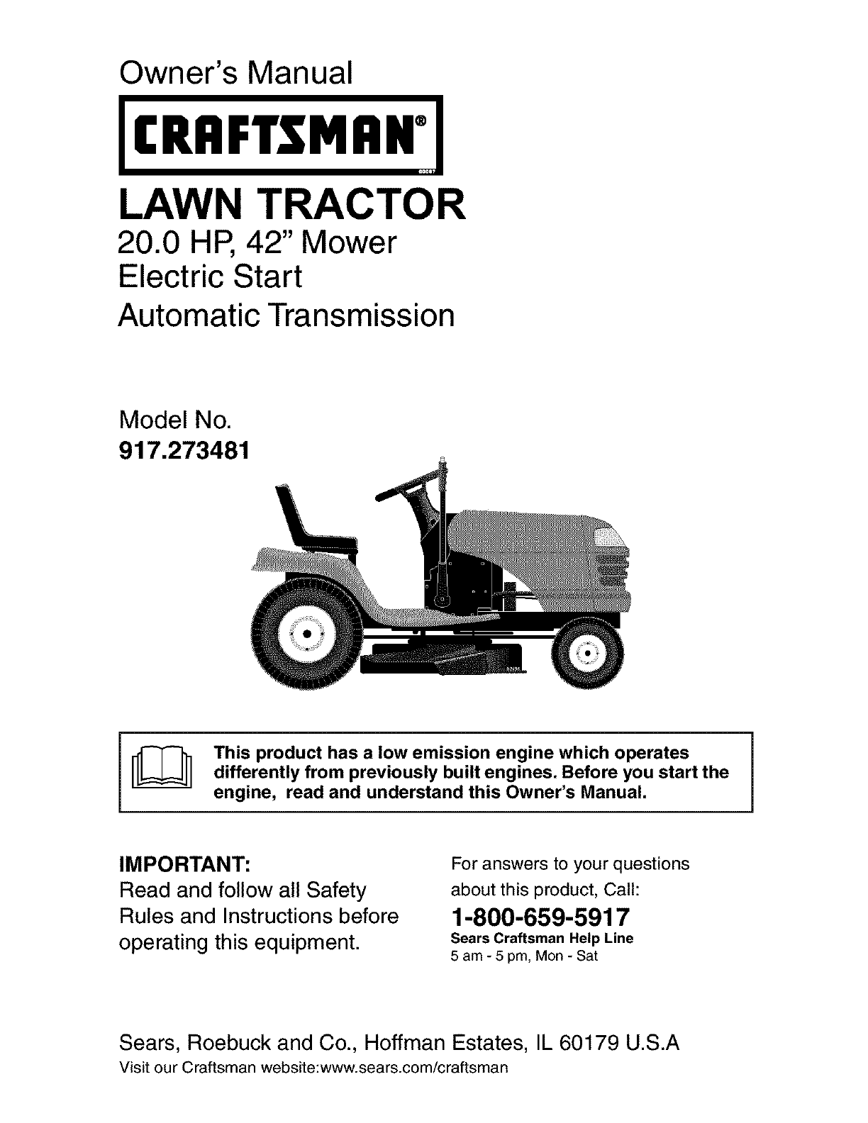 Sears Craftsman Model 917 Mower : Craftsman lawn mower user guide manualsonline