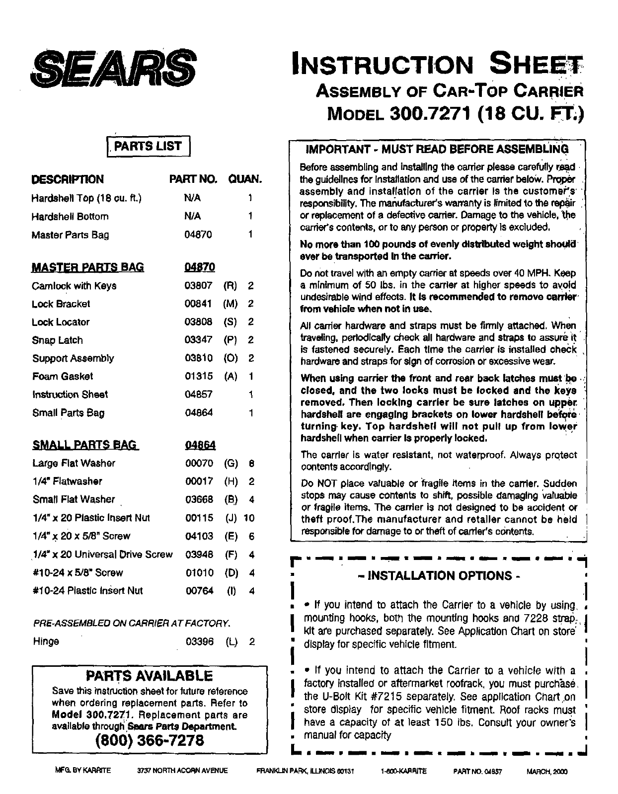 Sears 300.7271 Automobile Accessories User Manual