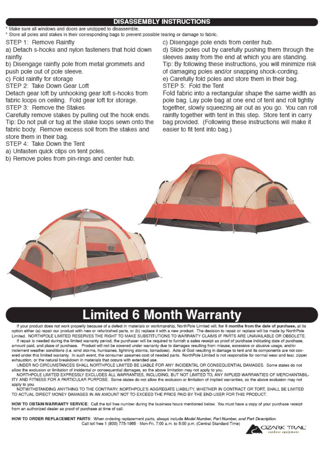 of 6  sc 1 st  Fitness Equipment Manuals - ManualsOnline.com & Page 6 of Ozark Trail Tent WMT-1960 User Guide | ManualsOnline.com