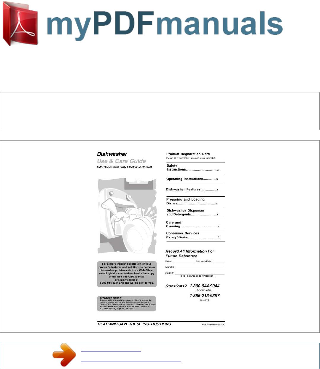 frigidaire dishwasher fdb1100rhc user guide manualsonline com rh kitchen manualsonline com frigidaire gallery dishwasher installation guide frigidaire dishwasher user guide