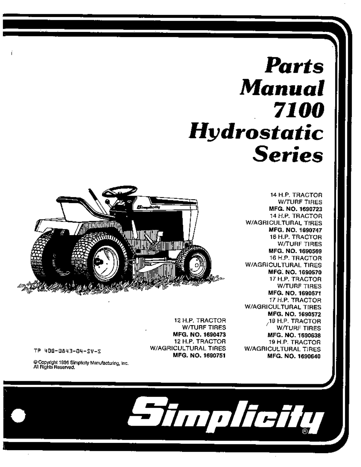 simplicity lawn mower 7100 hydrostatic series user guide manualsonline