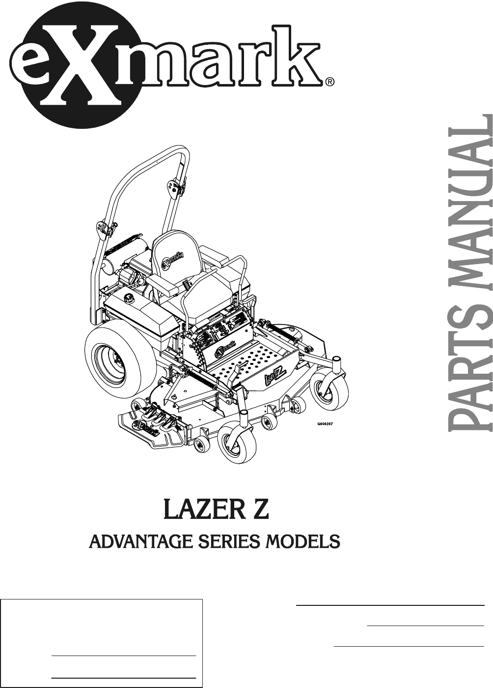 exmark lawn mower advantage series user guide