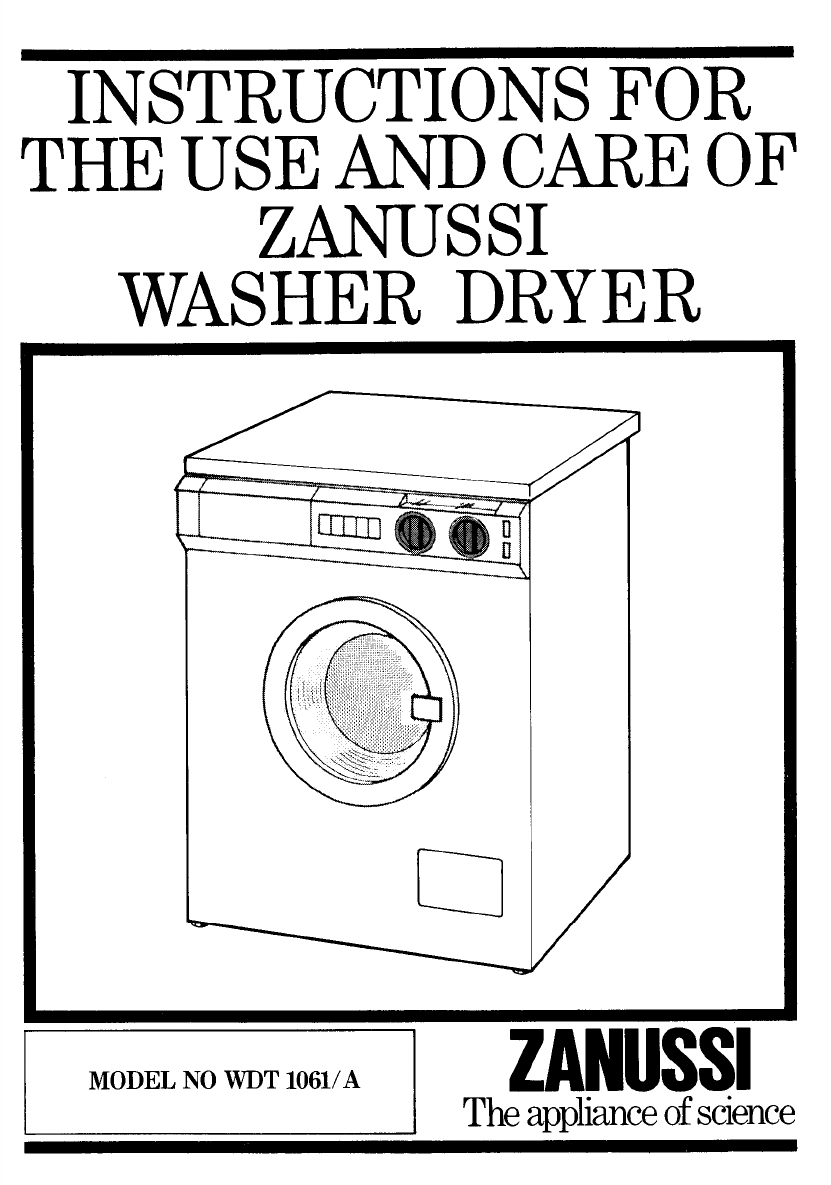 zanussi washer dryer wdt 1061 a user guide manualsonline com rh laundry manualsonline com Zanussi Washing Machines UK zanussi 1200 washing machine user manual