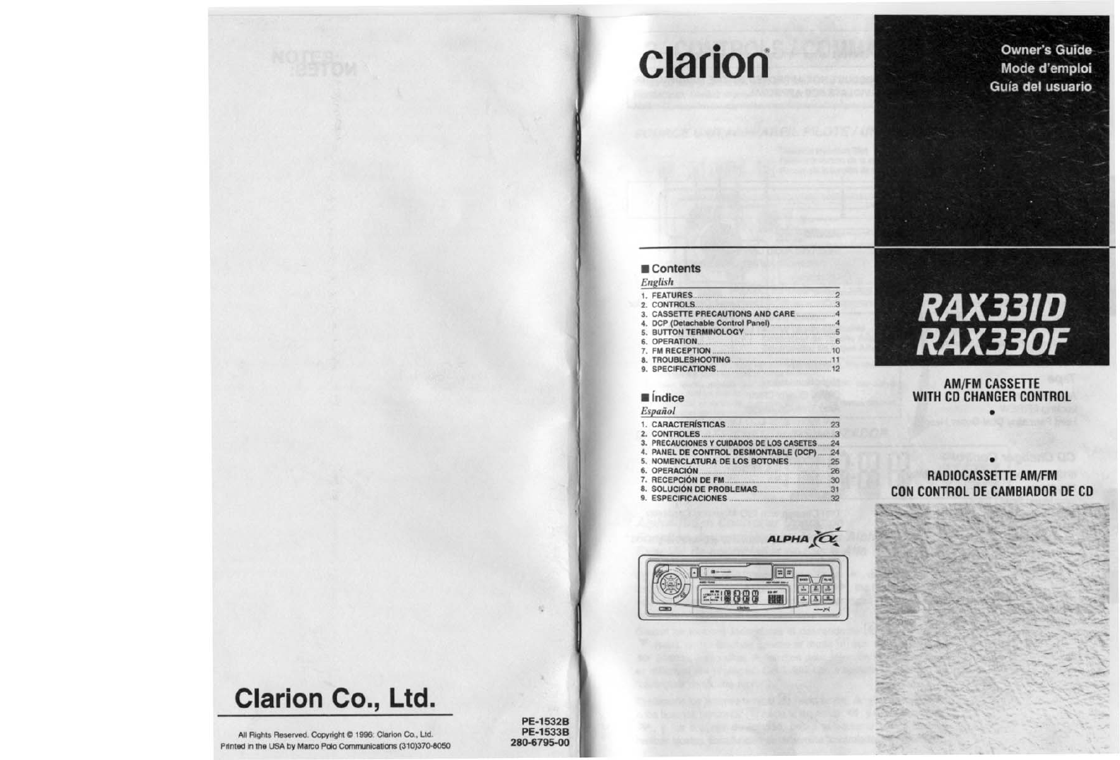 clarion cassette player rax331d user guide manualsonline com