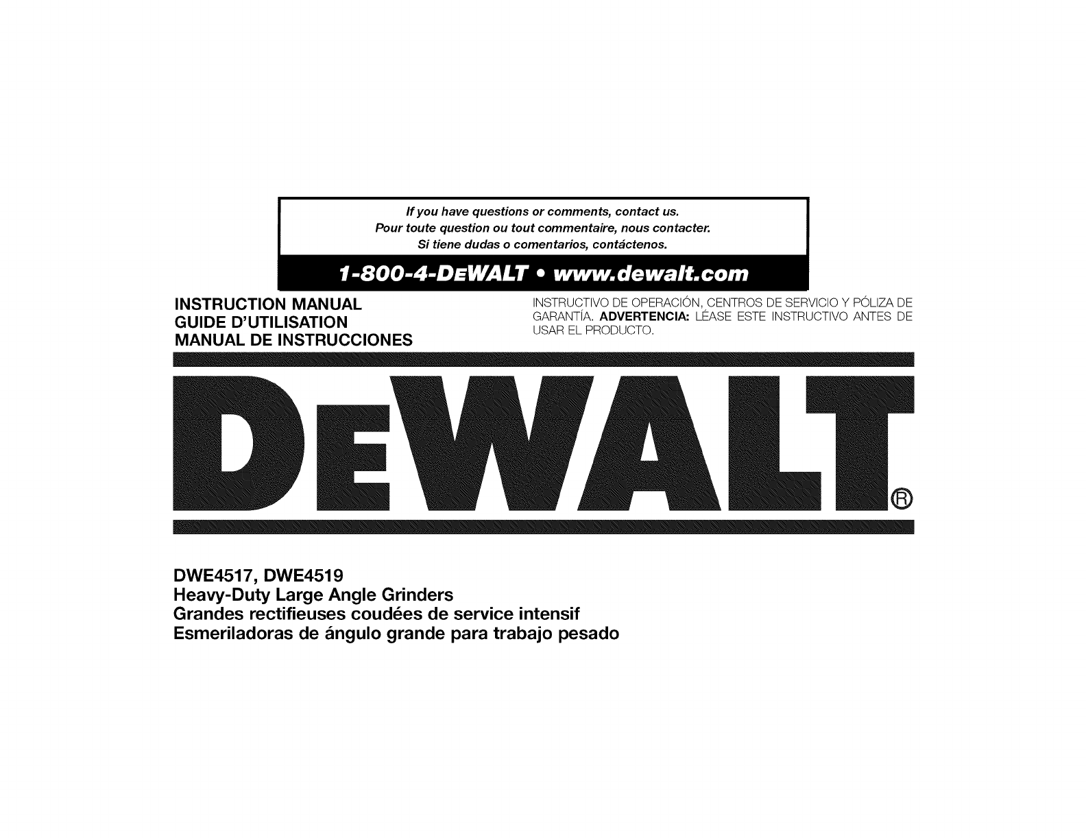 dewalt grinder dwe4517 user guide manualsonline com rh powertool manualsonline com dewalt owners manual dcst920b dewalt owners manuals free