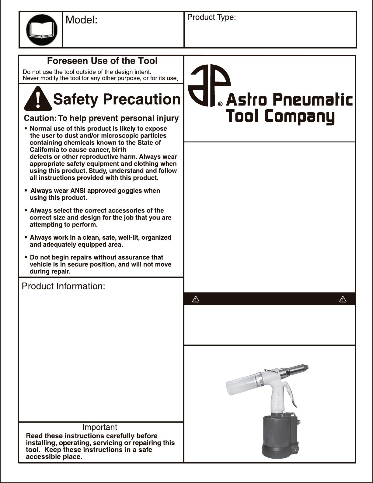 Astro Pneumatic Air Compressor Pr14 User Guide Manualsonlinecom Fig1 Wiring Diagram For A Typical Fridge Note The Over Astrotoolscom