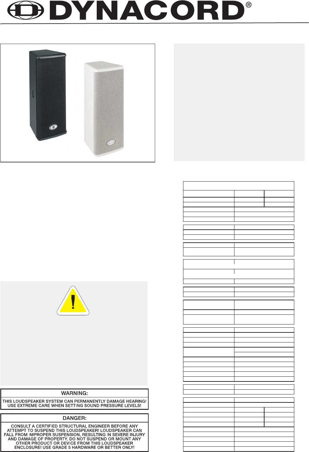 Dynacord Speaker System Vl262 User Guide Manualsonline Com border=
