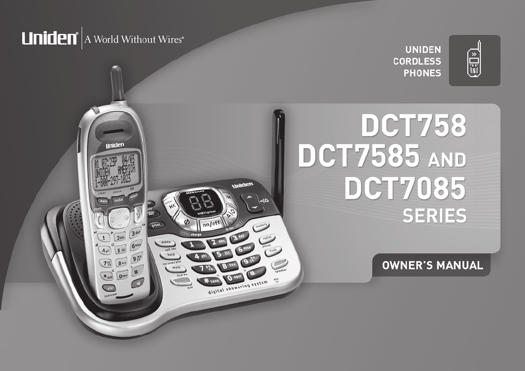 uniden cordless telephone dct7085 user guide manualsonline com rh phone manualsonline com uniden 6.0 digital answering system manual uniden digital answering system instruction manual