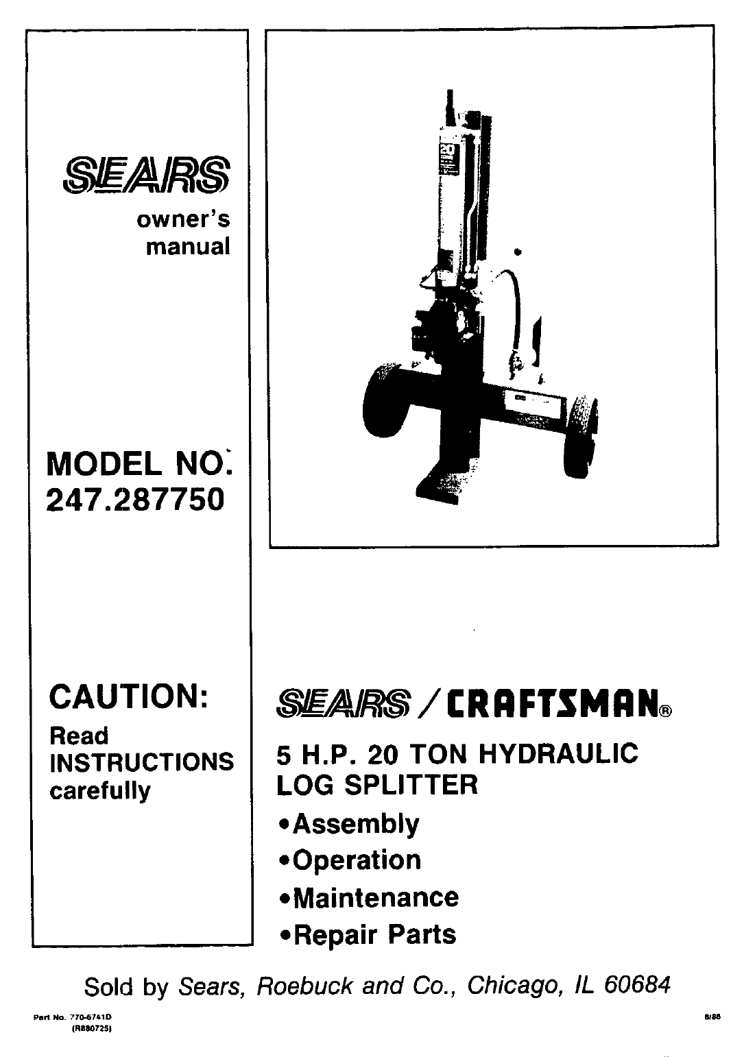 craftsman log splitter 247 28775 user guide manualsonline com rh lawnandgarden manualsonline com Log Splitters at Sears Who Makes Craftsman Log Splitters