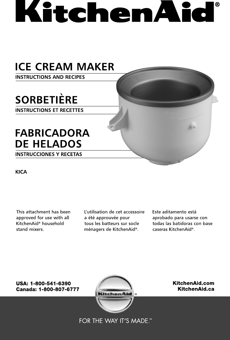 Kitchenaid Frozen Dessert Maker Kica User Guide