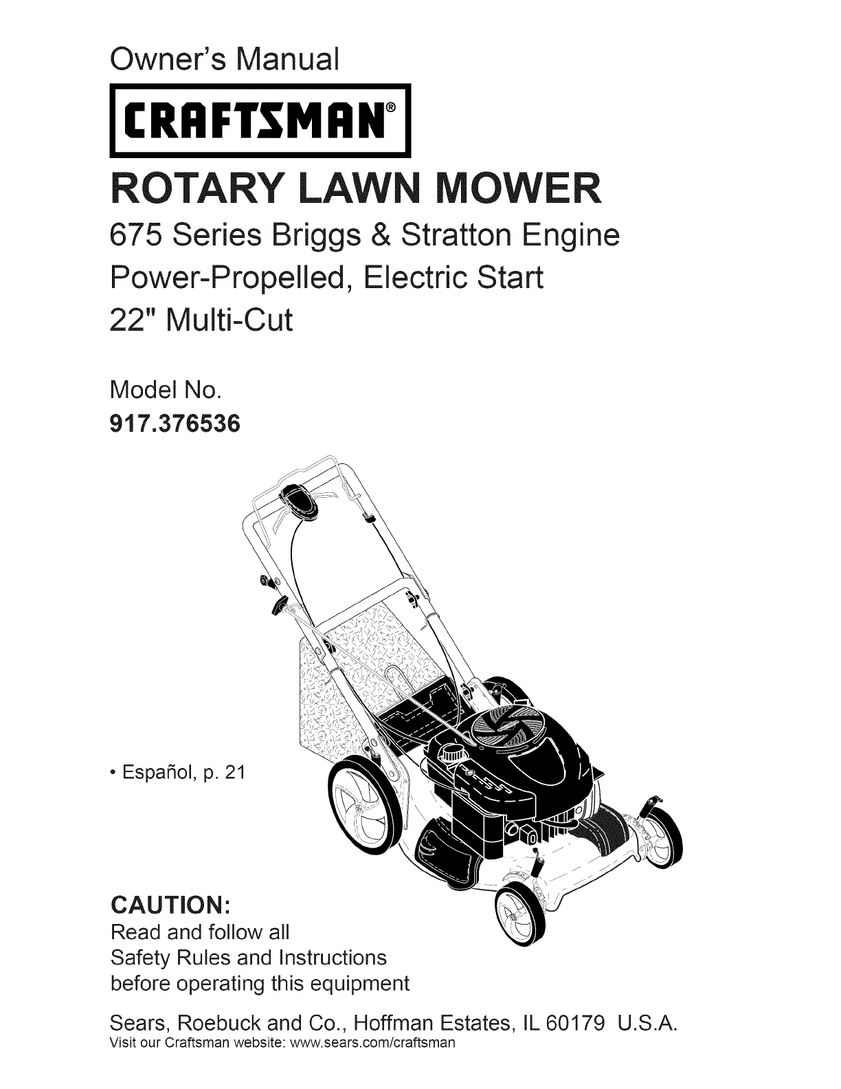 craftsman lawn mower 917 376536 user guide manualsonline com rh tv manualsonline com craftsman snowblower model 944 manual Craftsman Parts Manuals Online