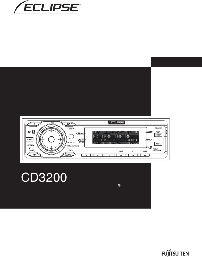 Fujitsu Ten Car Stereo System VCD3200 User Guide