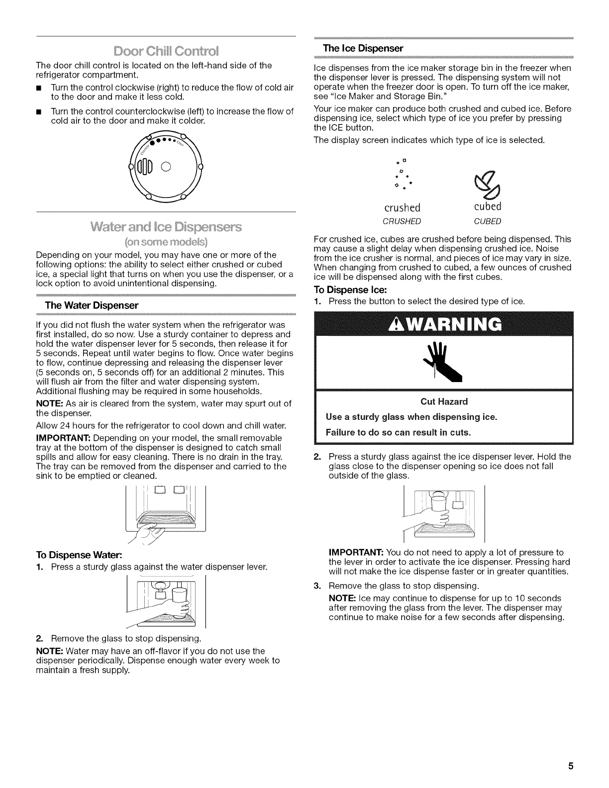 Page 5 of Kenmore Refrigerator 10645423800 User Guide