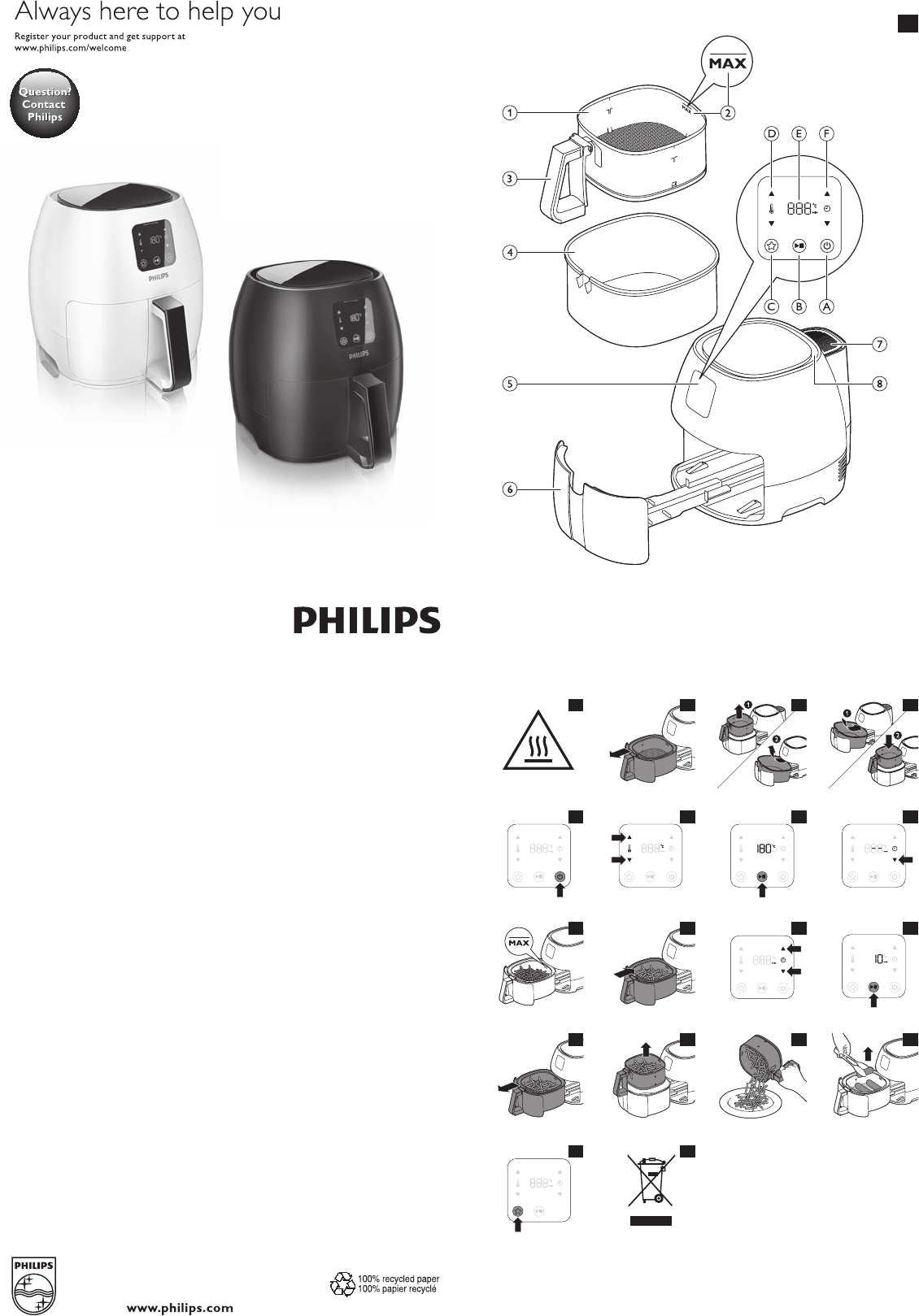 philips fryer hd9240 user guide manualsonline com rh kitchen manualsonline com philips airfryer hd9220 user manual philips airfryer hd9240 user manual