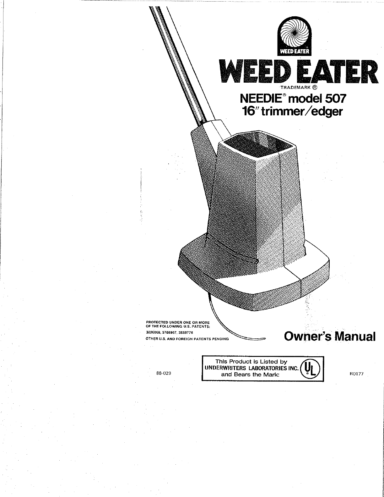 Weed Eater Trimmer 507 User Guide