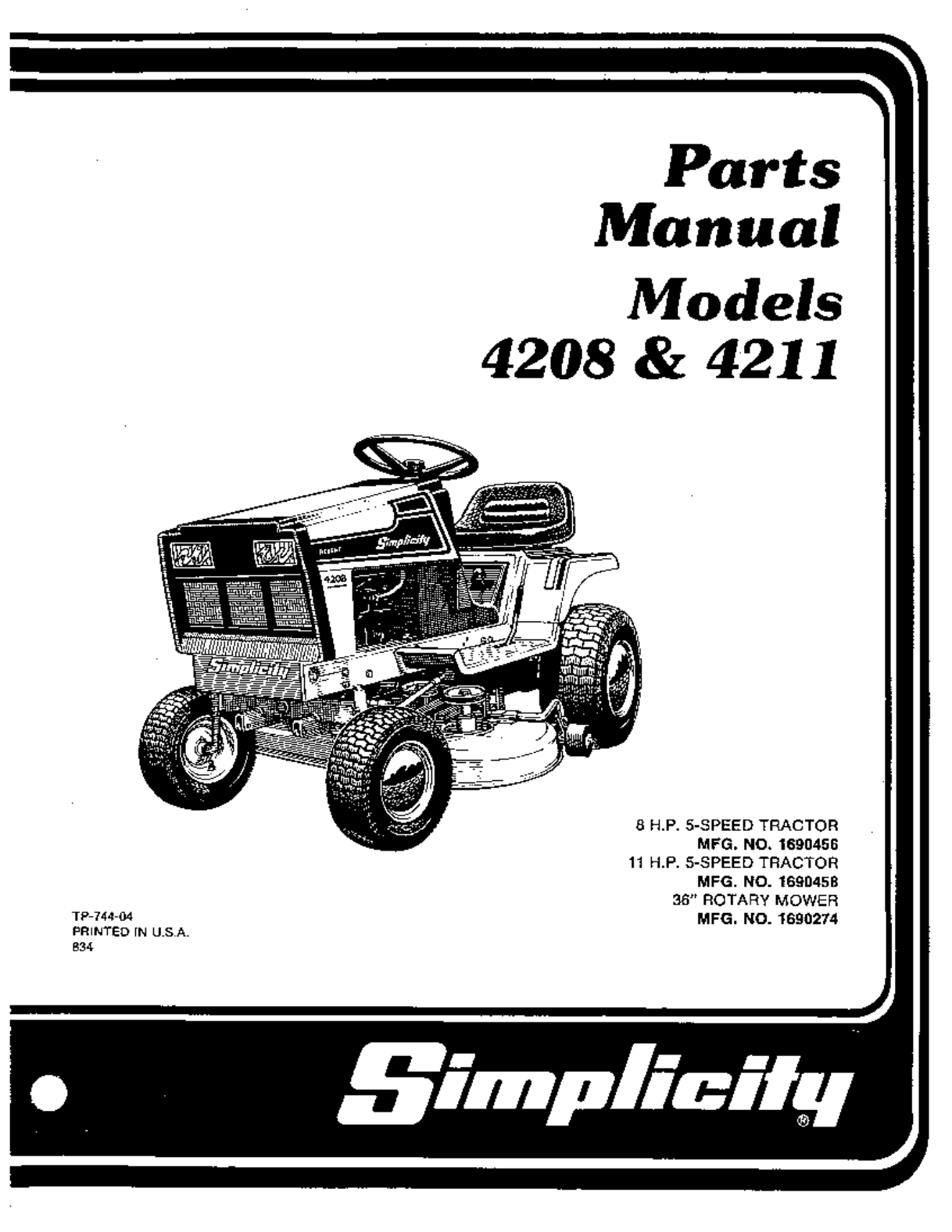 simplicity lawn mower 4211 user guide manualsonline com rh auto manualsonline com simplicity tractor mower deck parts Simplicity Mower Deck Belt Diagram