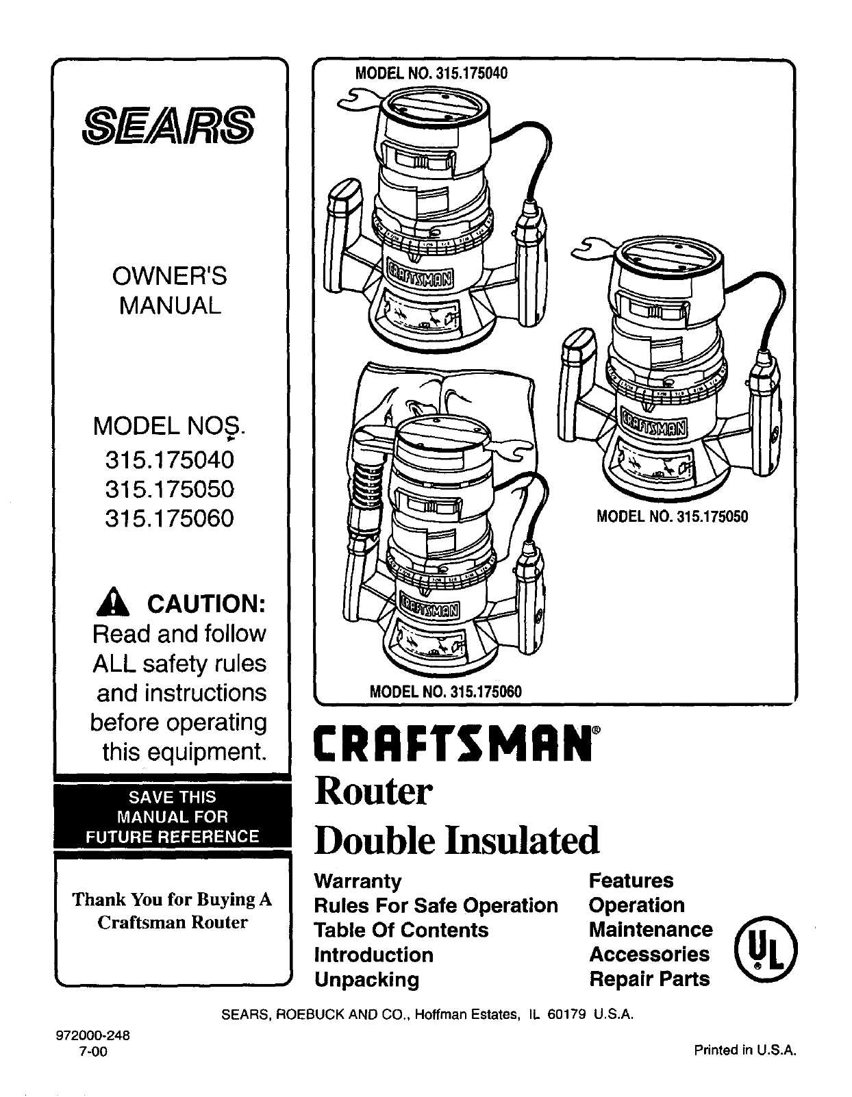 sears router 315 17504 user guide manualsonline com rh powertool manualsonline com 25444 Craftsman Router Table Manual Sears Router Table Parts