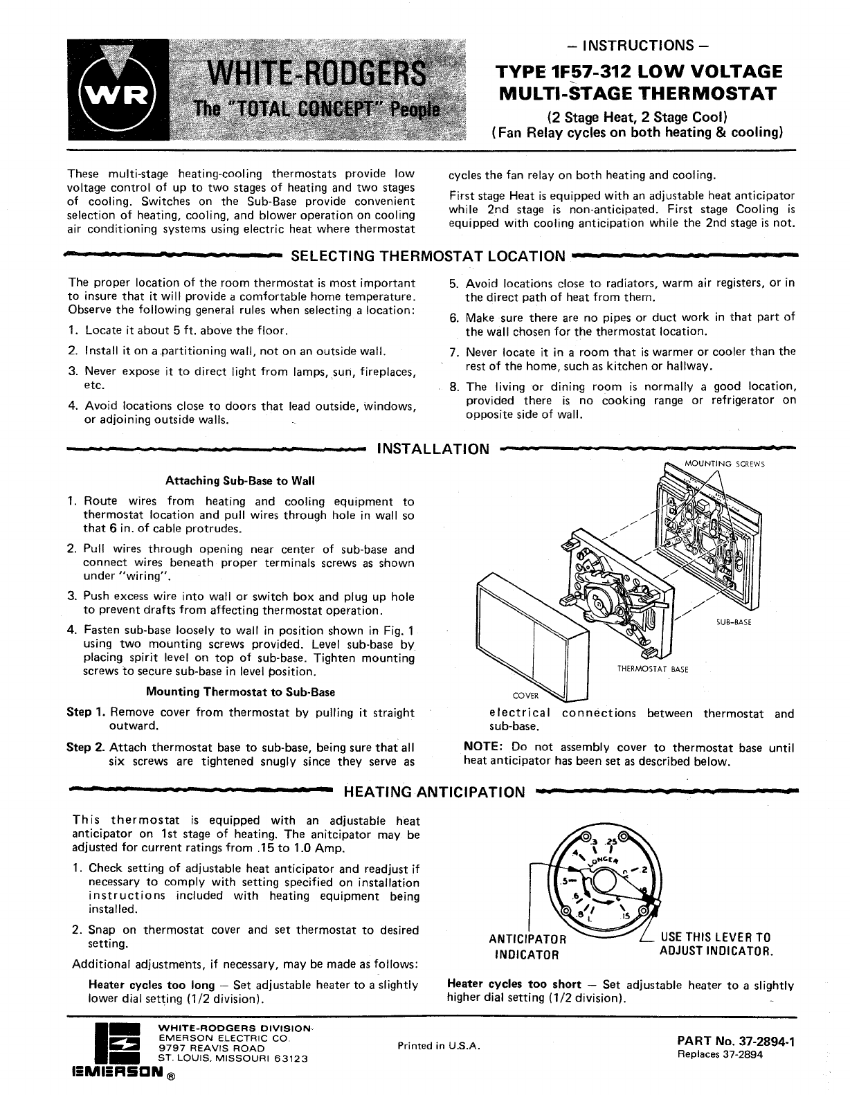 White Rodgers 1F57-312 Thermostat User Manual