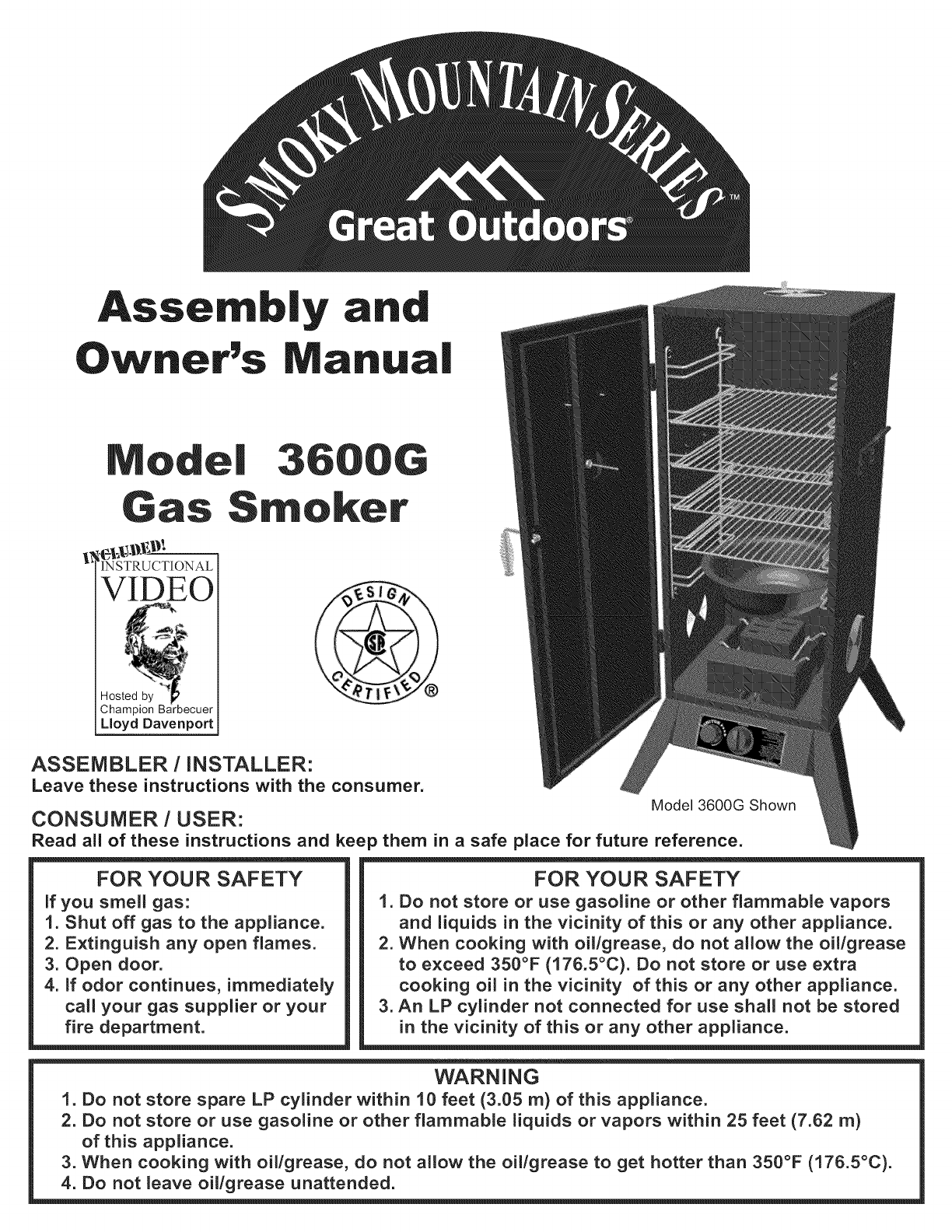great outdoors smoker 3600g user guide manualsonline com rh outdoorcooking manualsonline com smoky mountain series smoker recipes smoky mountain series smoker recipes