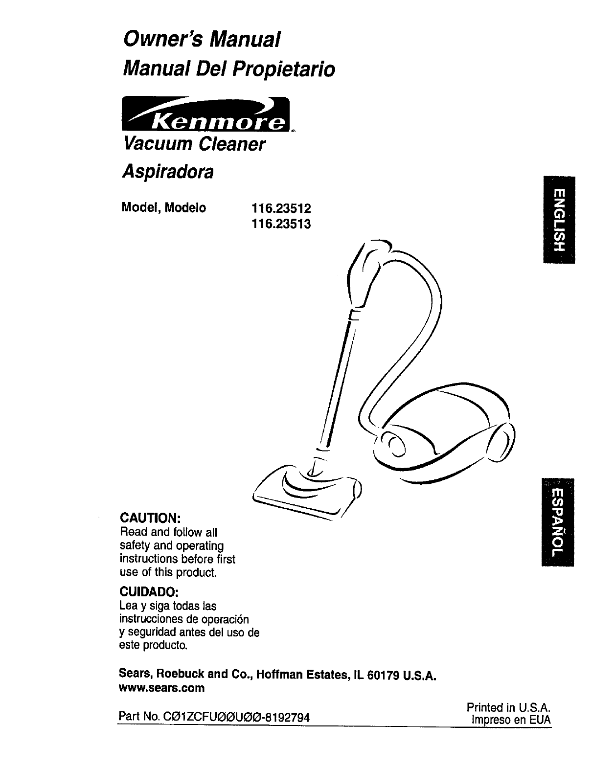 sears kenmore vacuum owners manual owners manual book u2022 rh userguidesearch today kenmore vacuum 116 repair manual Kenmore Canister Vacuum Model 116 Parts
