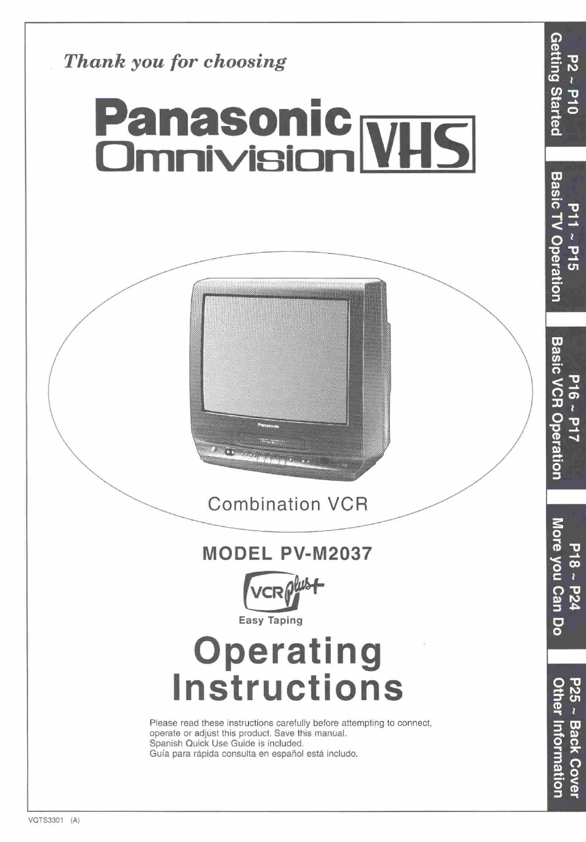 panasonic tv vcr combo pv m2037 user guide manualsonline com rh tv manualsonline com Manual Panasonic Radio Manual Panasonic Radio