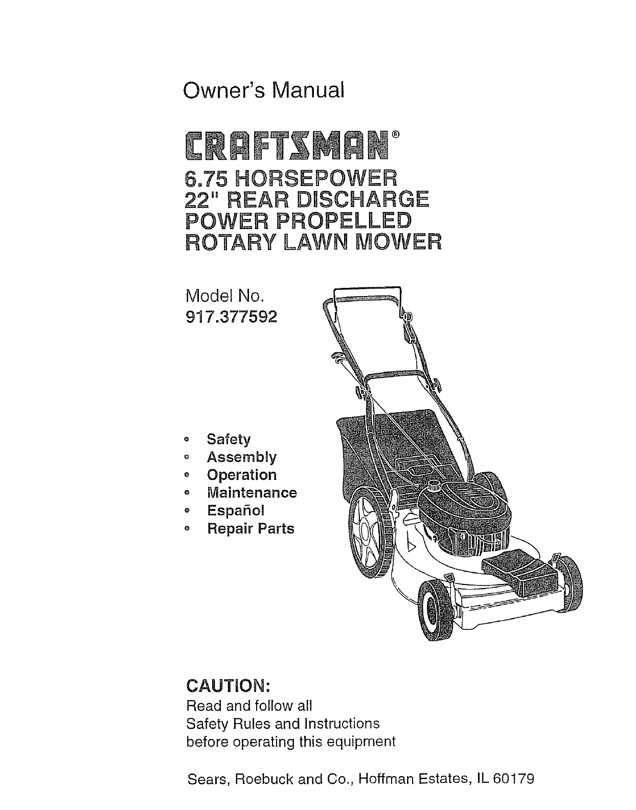 Craftsman Lawn Mower 917.377592 User Guide