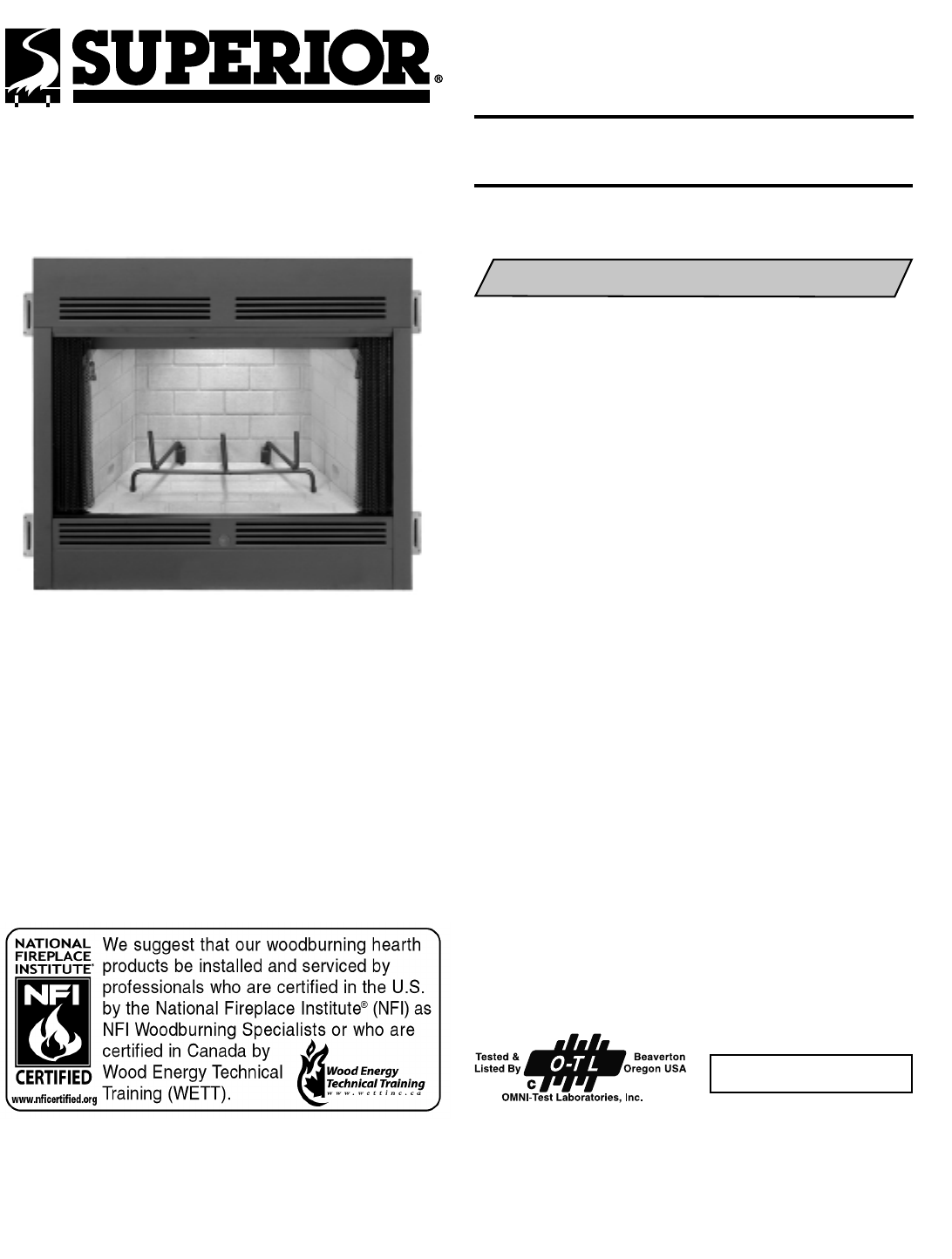 Superior Indoor Fireplace BR-36-2 User Guide | ManualsOnline.com