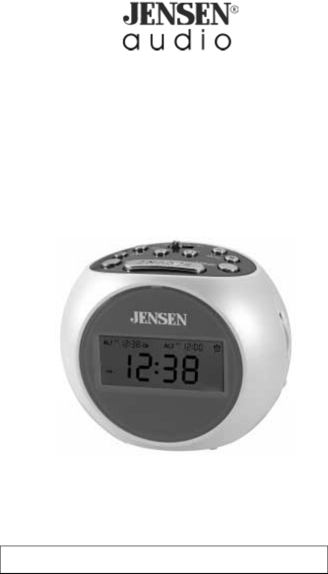 jensen clock radio jcr 263 user guide. Black Bedroom Furniture Sets. Home Design Ideas