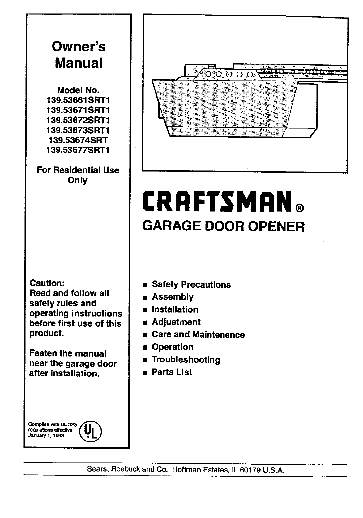 Craftsman garage door opener 13953674srt user guide craftsman garage door opener 13953674srt user guide manualsonline rubansaba