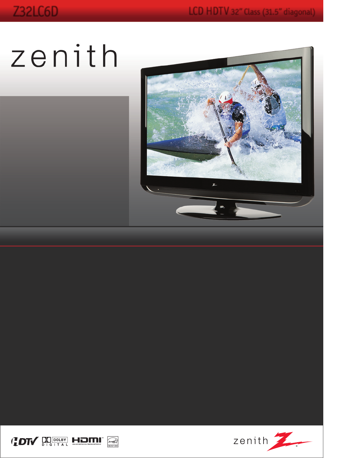 zenith flat panel television z32lc6d user guide manualsonline com rh tv manualsonline com Zenith 27-Inch Flat Screen TV Zenith 42 Inch Flat Screen TV