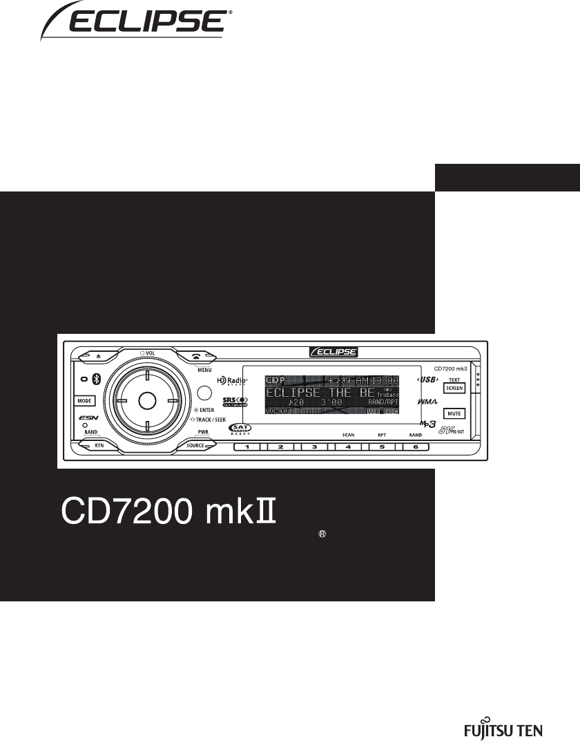 eclipse fujitsu ten car stereo system cd7200 mkii user guide rh caraudio manualsonline com Eclipse Car Stereo Eclipse Car Stereo