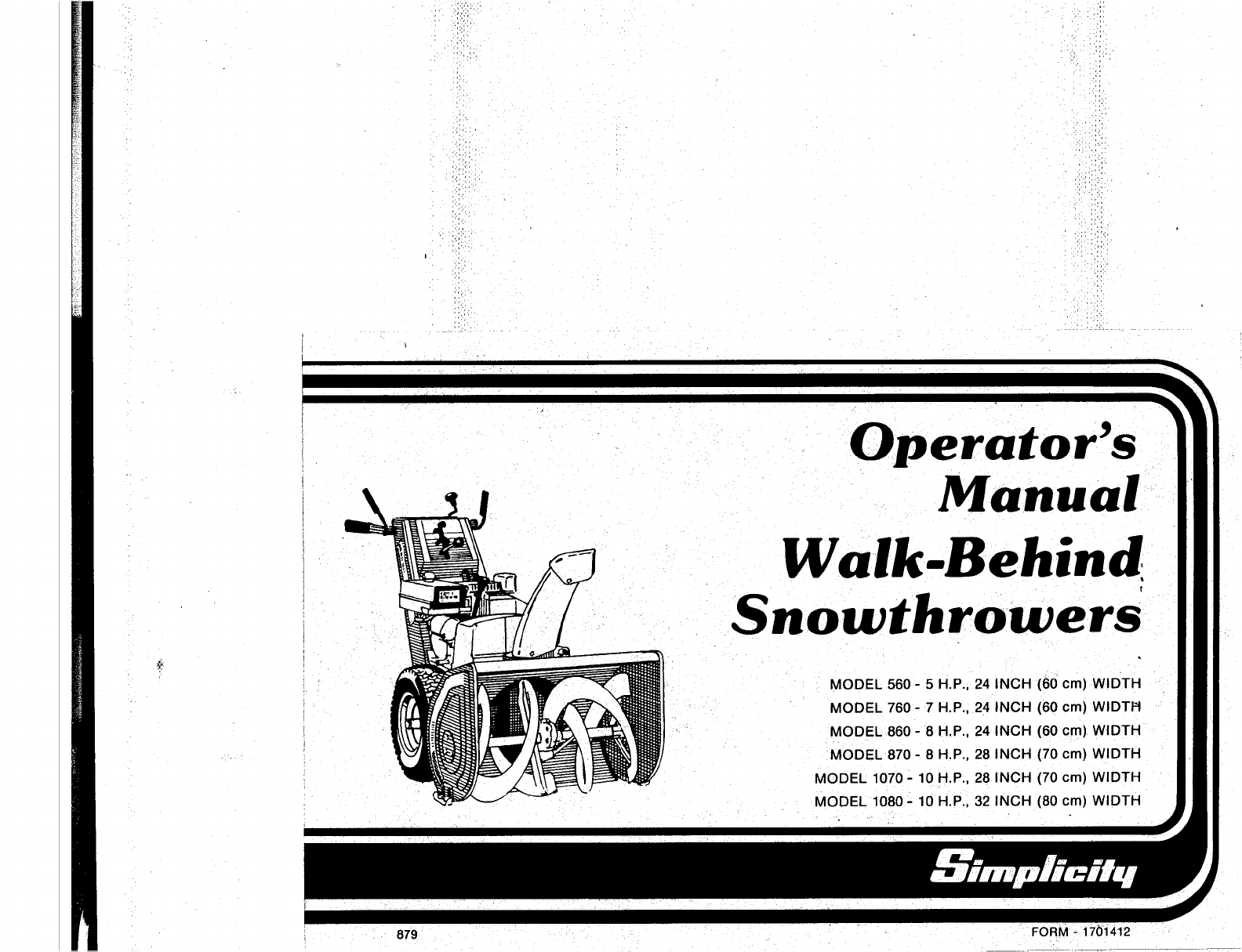 simplicity snow blower 560 user guide manualsonline com rh manualsonline com Simplicity Parts List Simplicity 860 Snowblower Parts